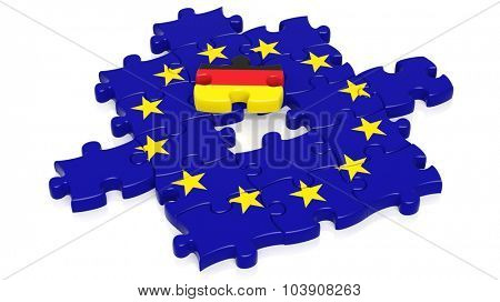 Jigsaw puzzle flag of European Union with Germany flag piece, isolated on white.