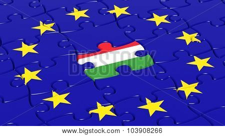 Jigsaw puzzle flag of European Union with Hungary flag piece.