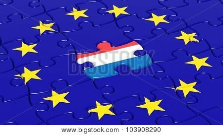 Jigsaw puzzle flag of European Union with Netherlands flag piece.