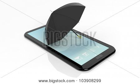 Umbrella on smartphone/tablet screen, isolated on white.