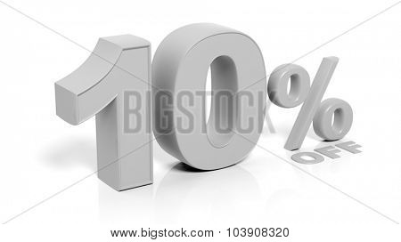 10% 3D numbers,isolated on white background.