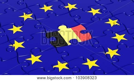 Jigsaw puzzle flag of European Union with Belgium flag piece.