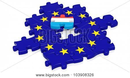 Jigsaw puzzle flag of European Union with Luxembourg flag piece, isolated on white