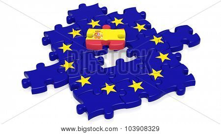 Jigsaw puzzle flag of European Union with Spain flag piece, isolated on white.