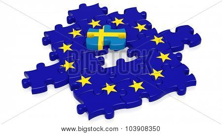 Jigsaw puzzle flag of European Union with Sweden flag piece, isolated on white.
