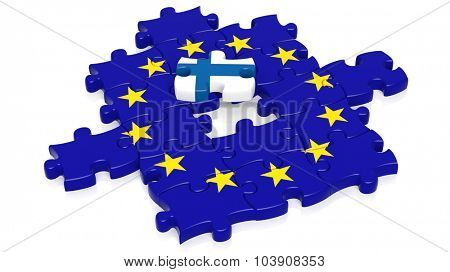Jigsaw puzzle flag of European Union with Finland flag piece, isolated on white.
