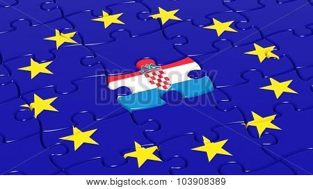 Jigsaw puzzle flag of European Union with Croatia flag piece.