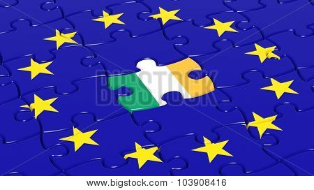 Jigsaw puzzle flag of European Union with Ireland flag piece.