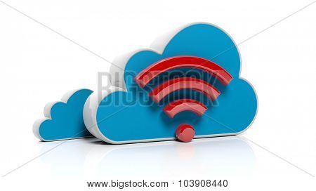 Cloud online storage icons with red wifi icon, isolated on white