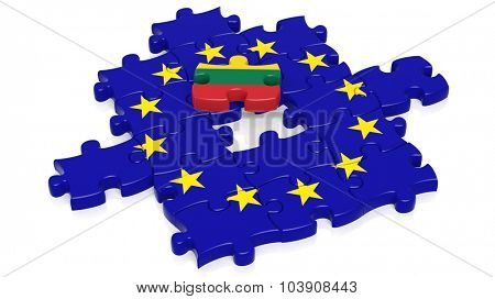 Jigsaw puzzle flag of European Union with Lithuania flag piece, isolated on white.