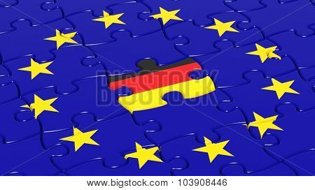Jigsaw puzzle flag of European Union with Germany flag piece.