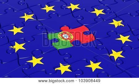 Jigsaw puzzle flag of European Union with Portugal flag piece.