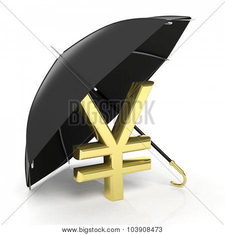 A golden yen sign under big black umbrella, isolated on white.