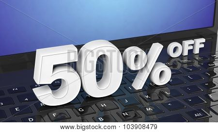50%  off white 3D numbers on black laptop keyboard