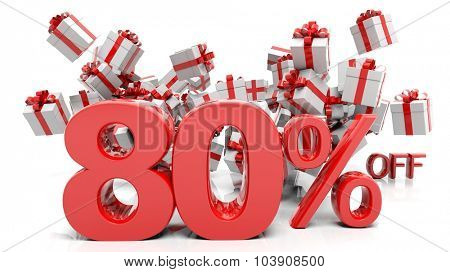 80% 3D numbers with bunch of gift boxes,isolated on white background.