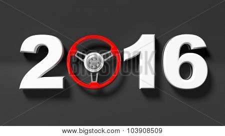 2016 text with red steering car wheel, isolated on black.