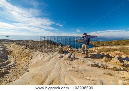 Man On Island Of The Sun, Titicaca Lake, Bolivia