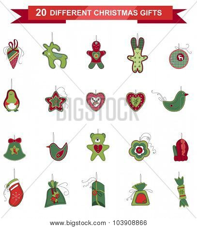Set of different Christmas decorations isolated on white. Simple colors. For Christmas design, announcements, postcards, posters.