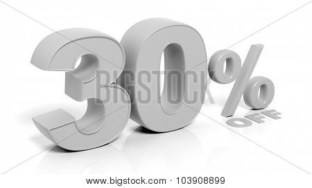 30% 3D numbers,isolated on white background.