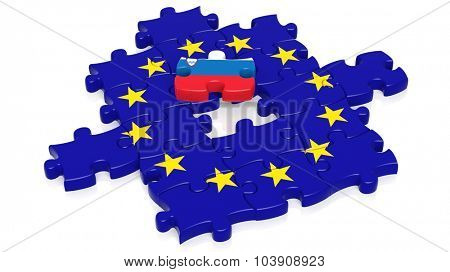 Jigsaw puzzle flag of European Union with Slovenia flag piece, isolated on white.