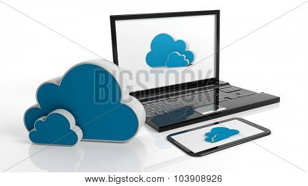 Cloud online storage icons with laptop and tablet, isolated on white