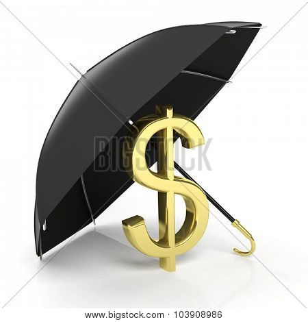 A golden dollar sign under big black umbrella, isolated on white.