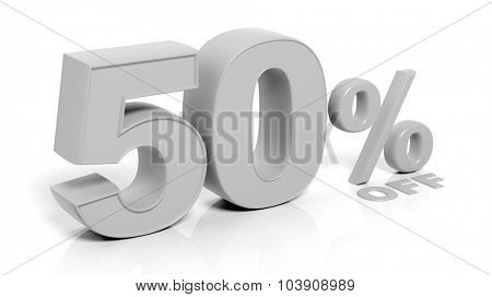 50% 3D numbers,isolated on white background.