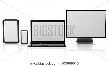 Tablet, laptop, monitor and smartphone templates with black screens, isolated on white background.