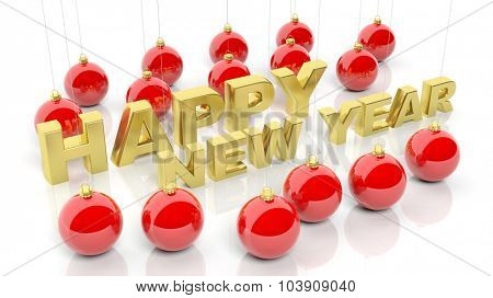 Christmas balls with golden Happy New Year  text, on white,
