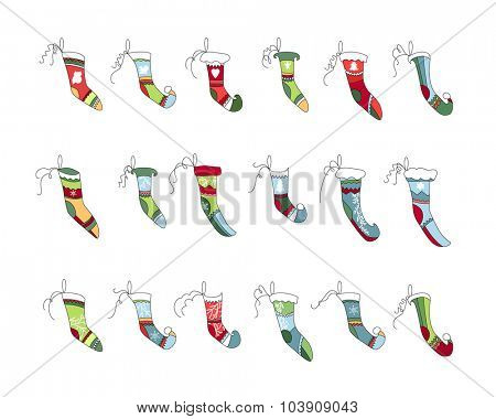 Set of different Christmas Santa socks isolated on white. Simple colors. For Christmas design, announcements, postcards, posters.