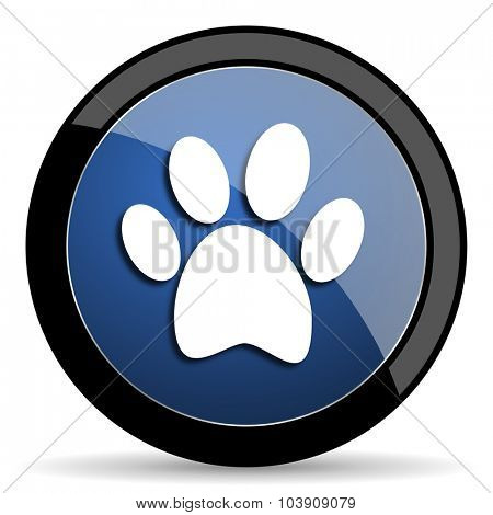foot blue circle glossy web icon on white background, round button for internet and mobile app