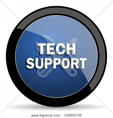 technical support blue circle glossy web icon on white background, round button for internet and mobile app