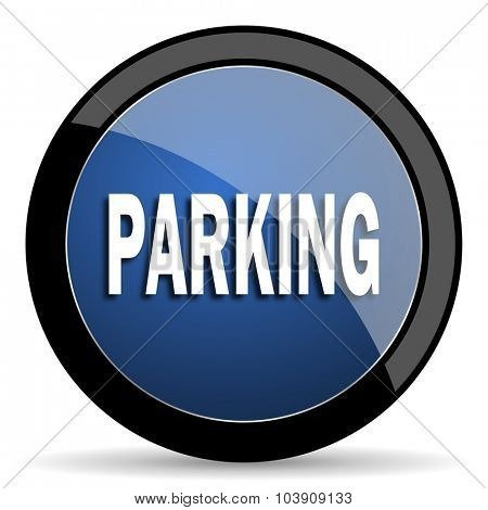 parking blue circle glossy web icon on white background, round button for internet and mobile app