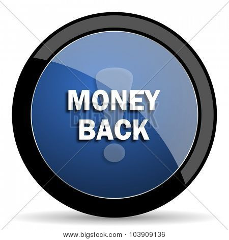 money back blue circle glossy web icon on white background, round button for internet and mobile app