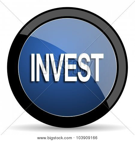 invest blue circle glossy web icon on white background, round button for internet and mobile app