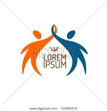 Two People Silhouettes Reaching Up Logo Template.