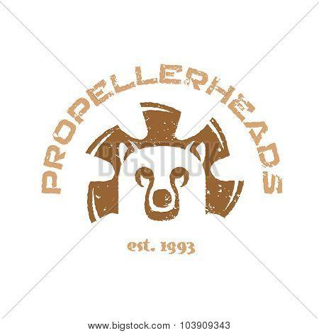 Bear T-shirt Illustration. Animal Head Logo With Fan Blades.