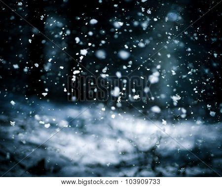 Falling Snow On The Black Background