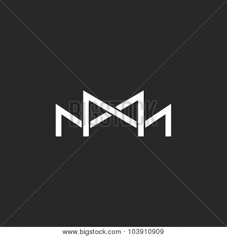 M Logo Monogram, Two Or Three Overlapping Thin Line Letters, Black And White Mockup Wedding Invitati