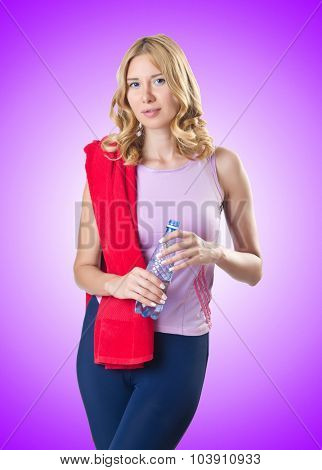 Sport concept  - Woman doing sports on white