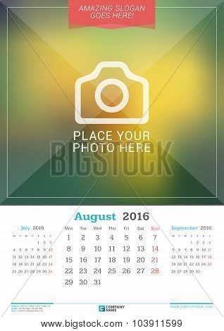 August 2016. Wall Monthly Calendar For 2016 Year. Vector Design Print Template With Place For Photo.