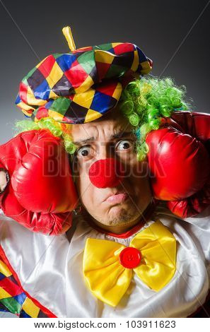 Funny clown in comical concept