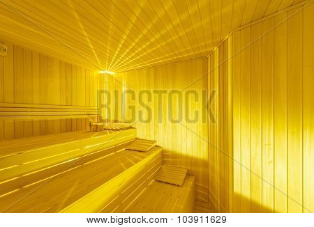 Hot wooden sauna room interior