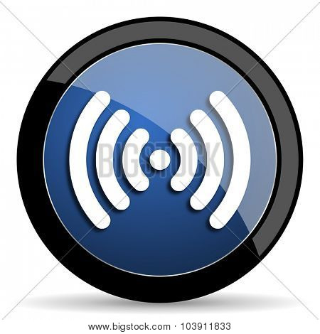 wifi blue circle glossy web icon on white background, round button for internet and mobile app