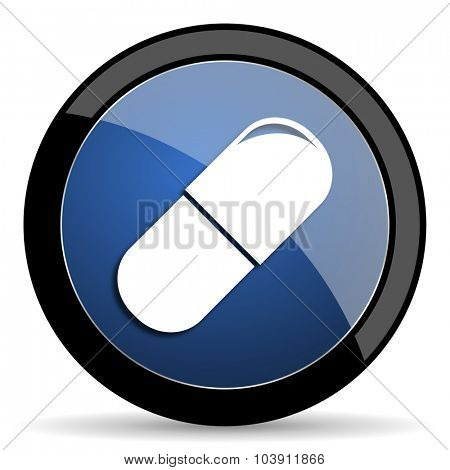 drugs blue circle glossy web icon on white background, round button for internet and mobile app