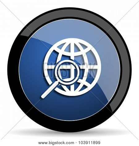 search blue circle glossy web icon on white background, round button for internet and mobile app