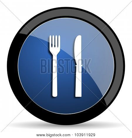 eat blue circle glossy web icon on white background, round button for internet and mobile app