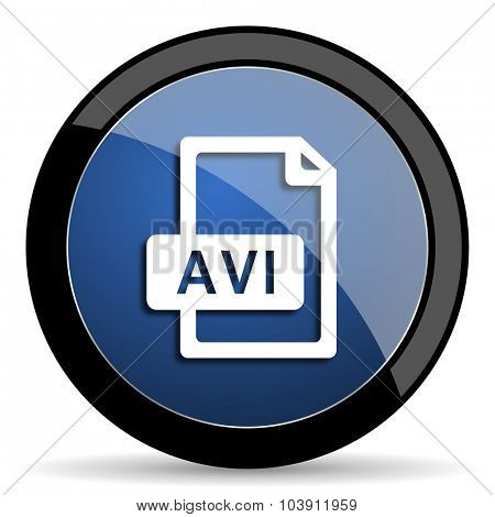 avi file blue circle glossy web icon on white background, round button for internet and mobile app