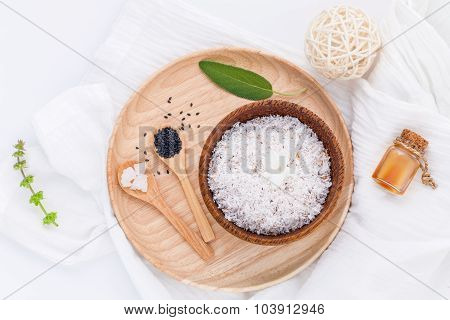 Raw Coconut And Coconut Essential Oils  With Sea Salt And Herbs Natural Spa Ingredients For Scrub An