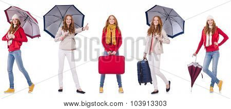 Set of photos with woman and umbrella